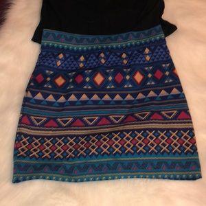 Forever 21 tribal print mini skirt Sz L